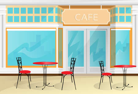 outdoor dining: Cafe Street Coffee Shop Chairs Table Vector Illustration