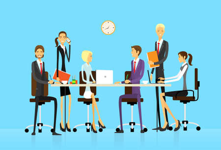 briefing: Business people group sitting at office desk creative team vector illustration flat design