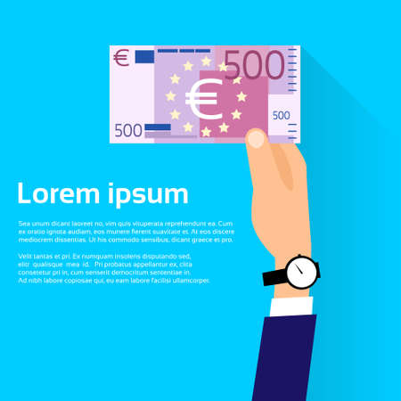 Hand hold 500 Euro Banknote Flat Design with Shadow Vector Illustration Illustration