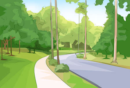 walk in the park: Green Park Forest Road Modern City Vector Illustration Illustration