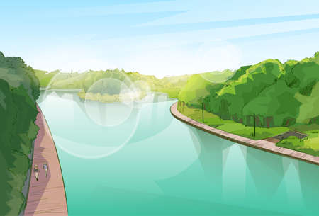 rain cartoon: Water River Pond Jungle Forest Green Landscape Park Blue Sky Vector Illustration Illustration