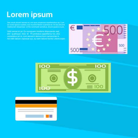 efectivo: Ilustración de divisas en efectivo del dólar billete en euros de crédito tarjeta plana vectorial Vectores
