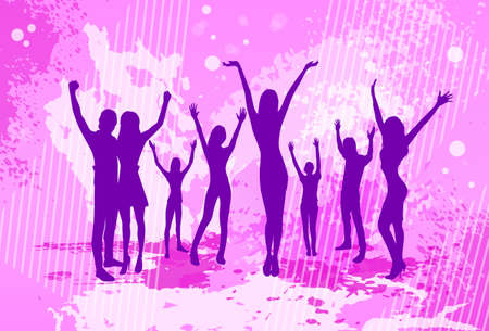 Dancing Pink Colorful Dance Banner People Crowd Silhouettes Hold Hands Up Vector illustration