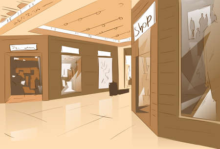 luxury interior: Shopping Window Modern Luxury Shop in Mall Center Vector Illustration