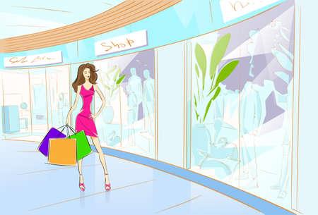 Woman Shopping Bags Modern Luxury Shop Mall Center Vector Illustration Vector