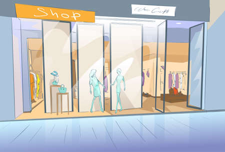 business center: Shopping Window Modern Luxury Shop in Mall Center Vector Illustration