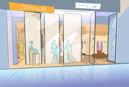 Shopping Window moderne luxe winkel in winkelcentrum centrum Vector Illustratie