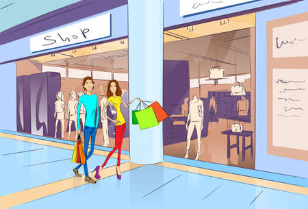 Couple Shopping Man and Woman Walking with Bags in Modern Luxury Shop Mall Center Vector Illustration 向量圖像