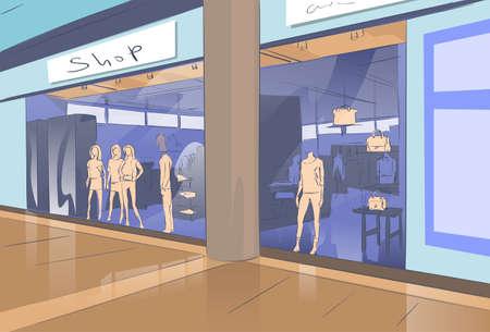 shopfront: Shopping Window Modern Luxury Shop in Mall Center Vector Illustration