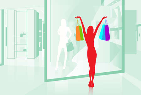 boutique display: Woman hold Shopping Bags Shop Window Modern Luxury Mall Center Vector Illustration