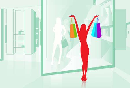 shopfront: Woman hold Shopping Bags Shop Window Modern Luxury Mall Center Vector Illustration