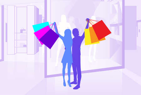 Shop Window Couple Silhouette Hold Shopping Bags in Mall Center Vector Illustration Vector