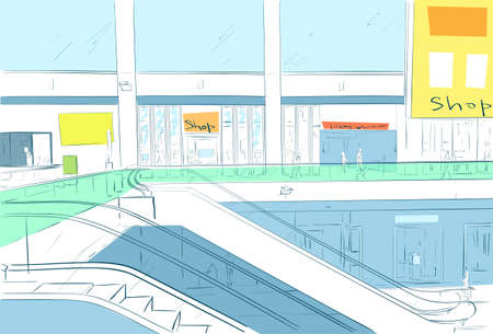 Modern Luxury Mall Shopping Center with escalators Shop Window Vector Illustration