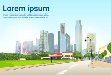 view: Road to Modern City View Skyscraper Cityscape Background with Copy Space Vector Illustration Illustration