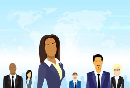 비즈니스 사람들 그룹 리더 다양 팀 벡터 일러스트