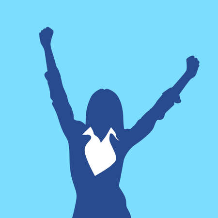 hands silhouette: Business Woman Silhouette Excited Hold Hands Up Raised Arms Illustration