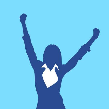feminino: Silhueta da mulher de negócios Excited espera Hands Up Braços no Ar
