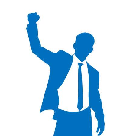 Úspěch: Business Man Silhouette Nadšený držet se za ruce nahoru