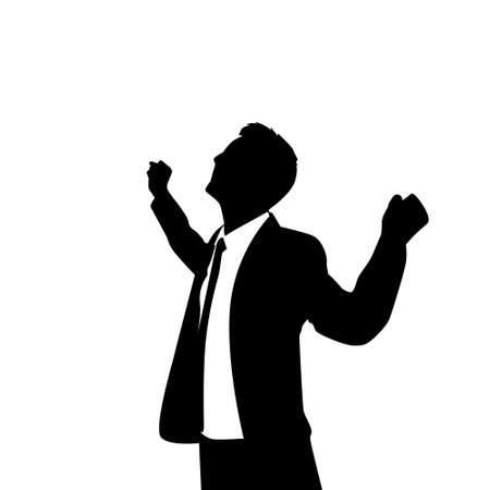 silueta humana: Hombre de negocios de la silueta Hold Emocionado Hands Up