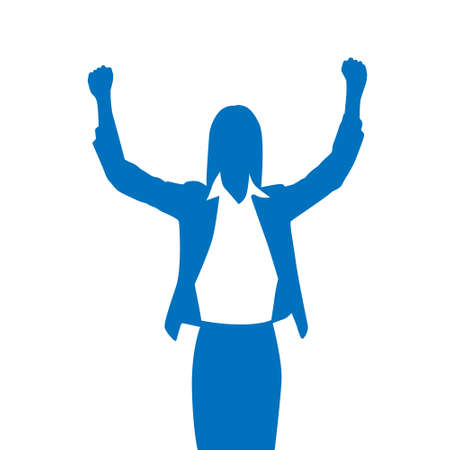 Business Woman Silhouette Excited Hold Hands Up Raised Arms Stock Illustratie