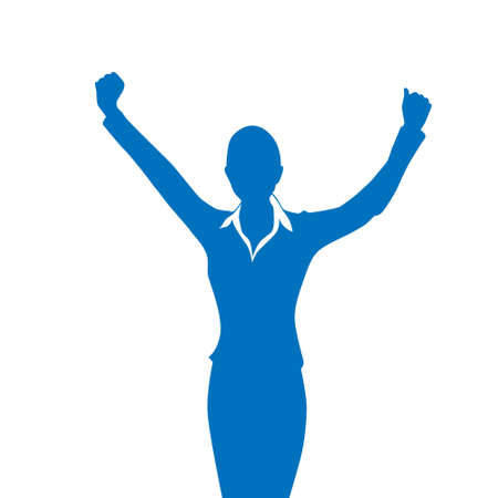 hold hands: Business Woman Silhouette Excited Hold Hands Up Raised Arms Illustration