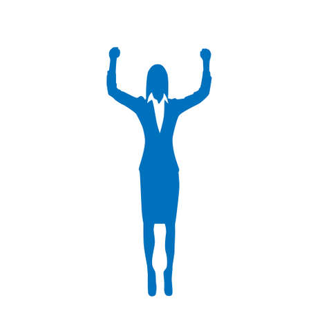 hold up: Business Woman Silhouette Excited Hold Hands Up