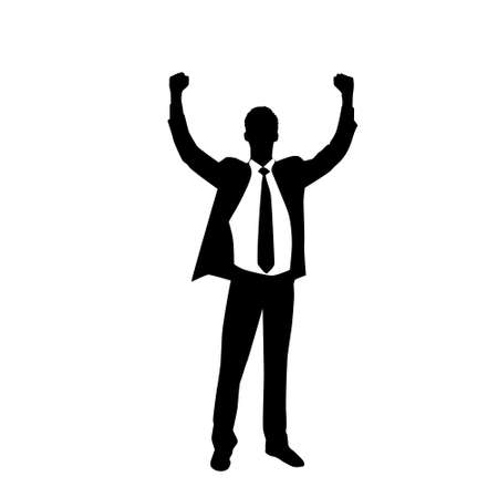 puÑos: Hombre de negocios de la silueta Hold Emocionado Hands Up