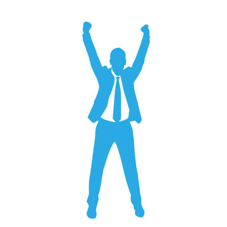excitación: Hombre de negocios de la silueta Hold Emocionado Hands Up