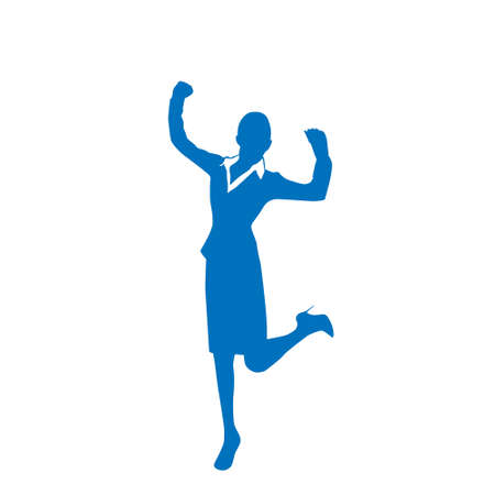 hold hands: Business Woman Silhouette Excited Hold Hands Up