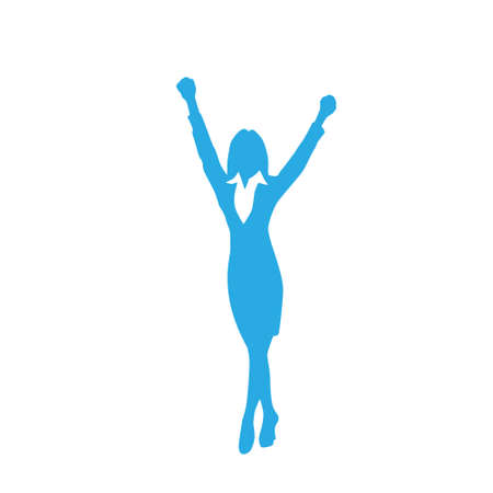 alright: Business Woman Silhouette Excited Hold Hands Up
