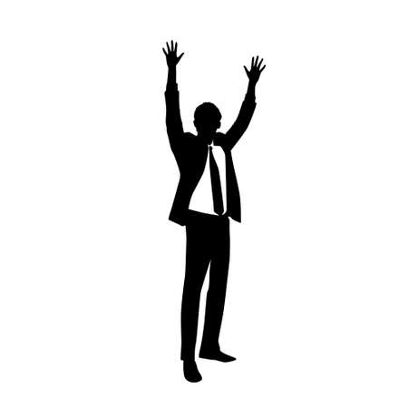 hold hands: Business Man Silhouette Excited Hold Hands Up