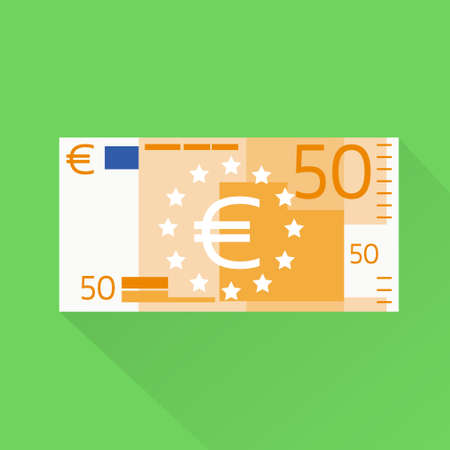 europe closeup: Euro Banknote Flat Design with Shadow Vector Illustration