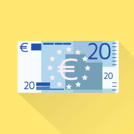wad: Euro Banknote Flat Design with Shadow Vector Illustration