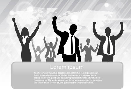 mensen groep: Business People Group Silhouette Opgewonden Hold Hands Up