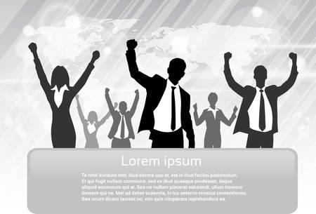 winner: Grupo de hombres de negocios de la silueta Hold Emocionado Hands Up