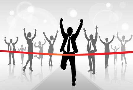 fila de personas: Empresario Running cruzan la meta de victorias Éxito
