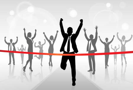 team success: Running Businessman Crossing Finish Line Win Success