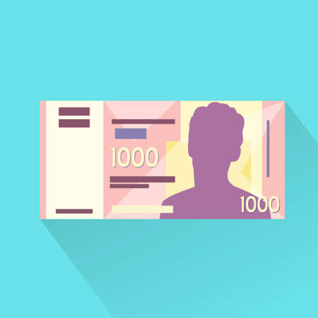 thousand: Singapore One Thousand Dollar Banknote Flat Design