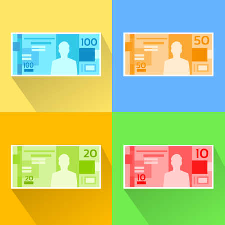 one hundred and ten: Brazilian Real Set Banknote Flat Design with Shadow