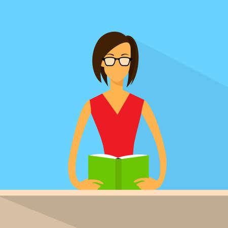 leggere libro: Woan Read Book Glasses Flat Vector Vettoriali
