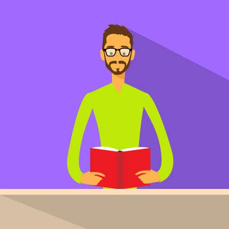 leggere libro: Icona uomo ha letto il libro vetri piani Vettoriali