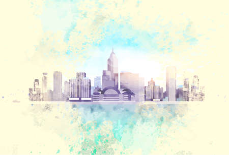 Vintage City Skyscraper View Cityscape Background Skyline