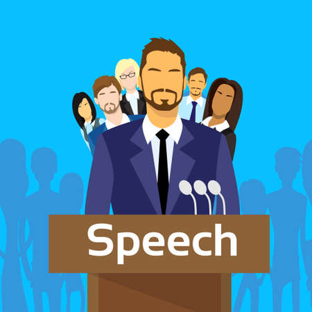 politic: Tribune Speech Businessman Politic with Team People Group