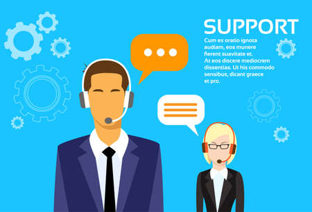 telemarketer: Support Business People Group Technical Team On Line Chat Flat