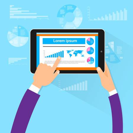 タブレット財務グラフ手タッチ画面指平面ベクトル