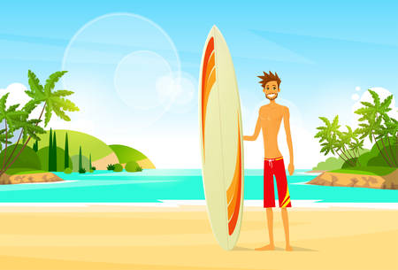 surfer: Surfer Man with Surfing Board Palm Tree Summer Holiday Illustration