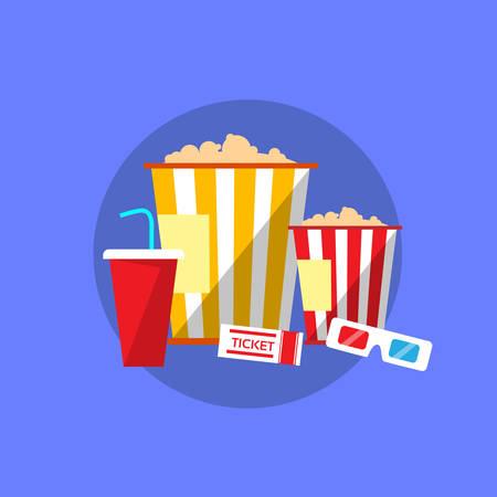 Popcorn Movie Set Flat Design Ticket Glasses Cinema Vector