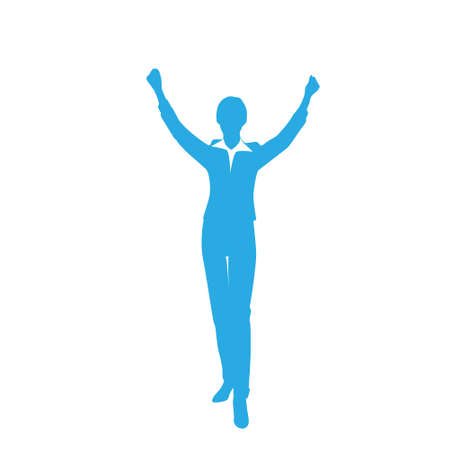 human arm: Business Woman Silhouette Excited Hold Hands Up