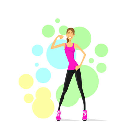 fitness trainer: Sport Woman Show Bicep Muscles Fitness Trainer
