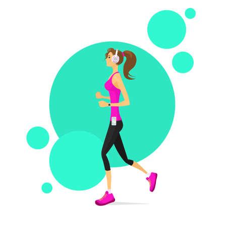 woman run: Sport Woman Run with Fitness Tracker Girl Runner Jogging